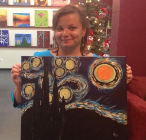 Gina Pacelli Paints Starry Night, Vino Van Gogh, Delray Beach, Florida