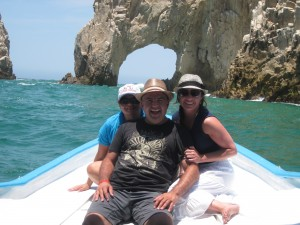 Gina Pacelli and friends exploring the Arch in Cabo Mexico