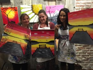 Gina Pacelli, Tania and Laura at Muse Paintbar in Lynnfield