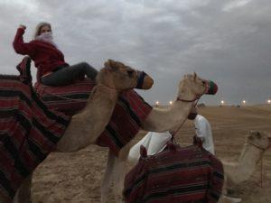 Elaine, Camel Ride, Desert, UAE
